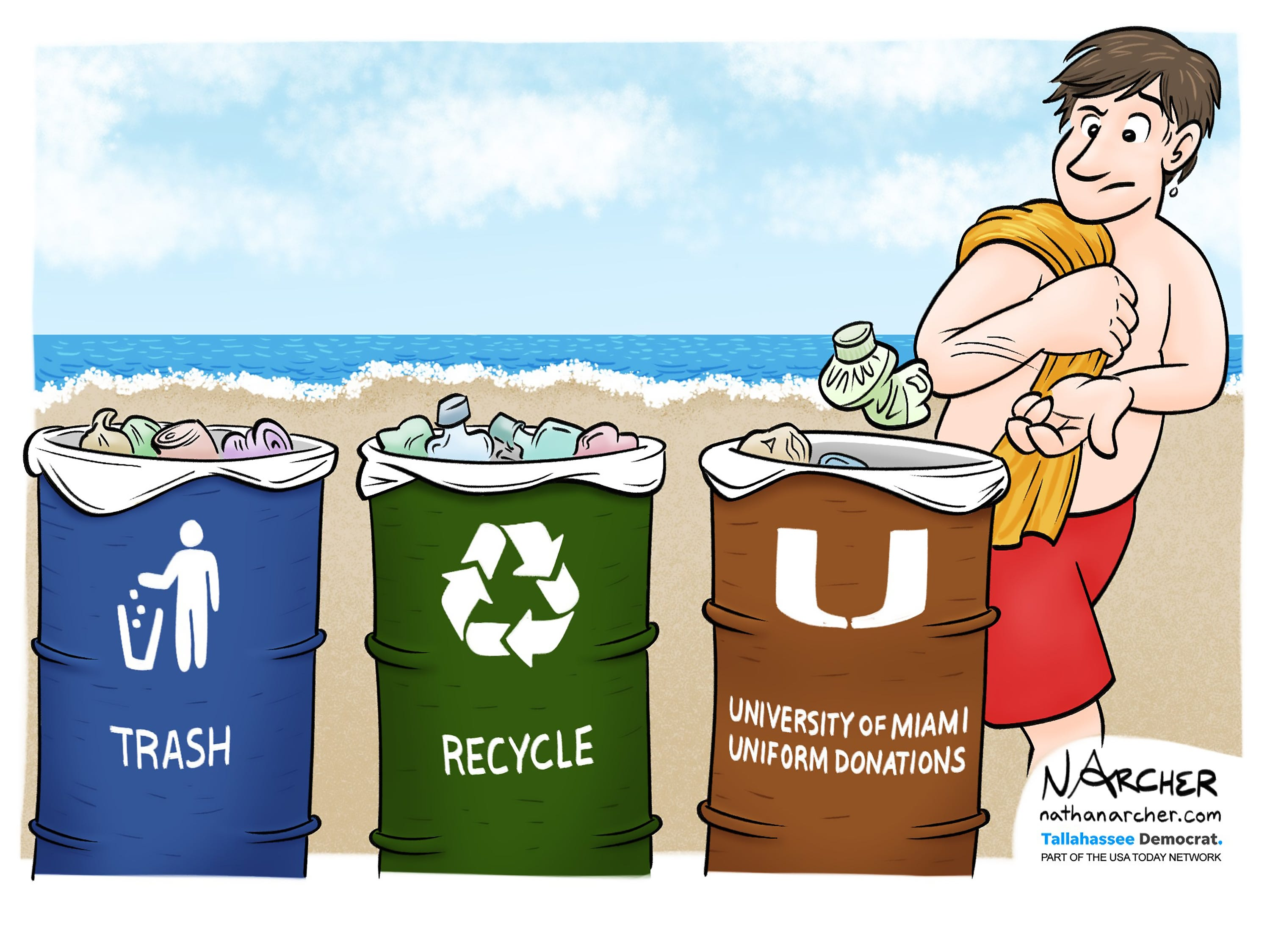 The Miami Hurricanes have pledged to wear uniforms made recycled waste from the ocean at their season opener Sept. 2, 2018. The cartoonist's homepage, tallahassee.com/opinion