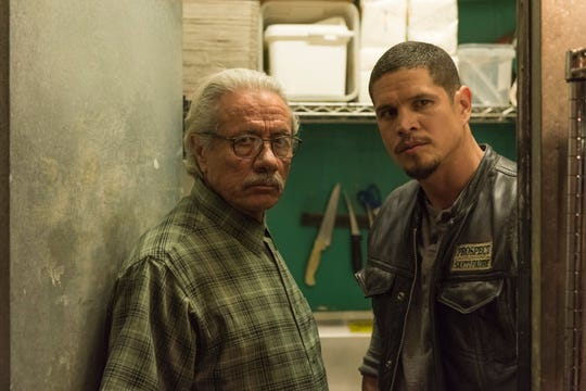 "Edward James Olmos, left, and JD Pardo play father and son in FX's ""Mayans M.C."""
