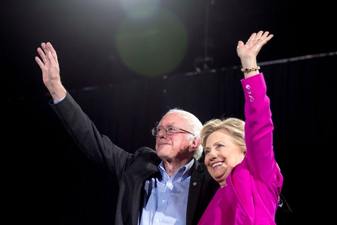 Bernie Sanders and Hillary Clinton in 2016.