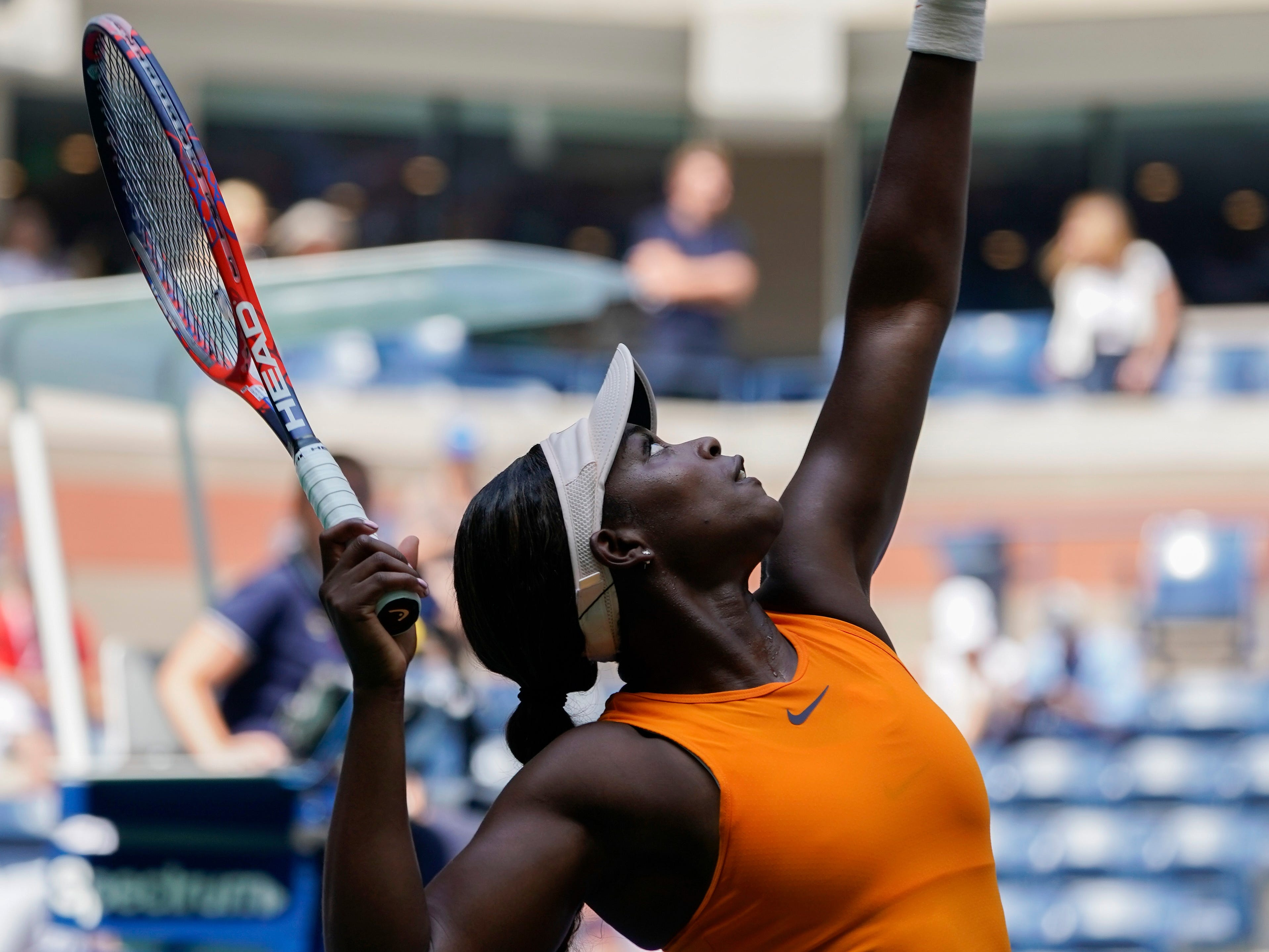 Sloane Stephens of the USA hits to Anhelina Kalinina of Ukraine in a second-round match.