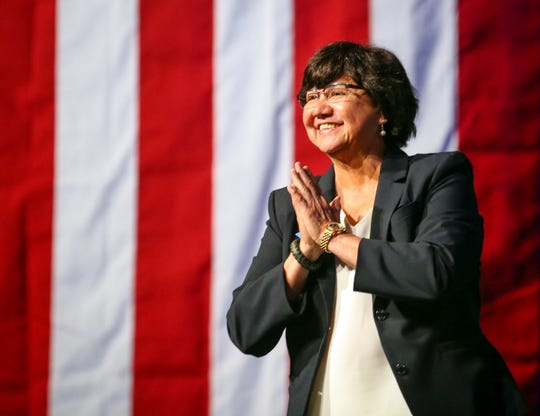Gubernatorial candidate Lupe Valdez is greeted as she takes the stage at the Texas Democratic Convention in Fort Worth on June 22, 2018.