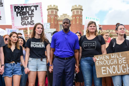 2/21/2018, Tallahassee, Fla.  Tallahassee mayor Andrew Gillum marches with Florida State students down College Avenue in Tallahassee on their way to the Florida Capitol to support gun reform. Feb. 21, 2018.  (Via OlyDrop)