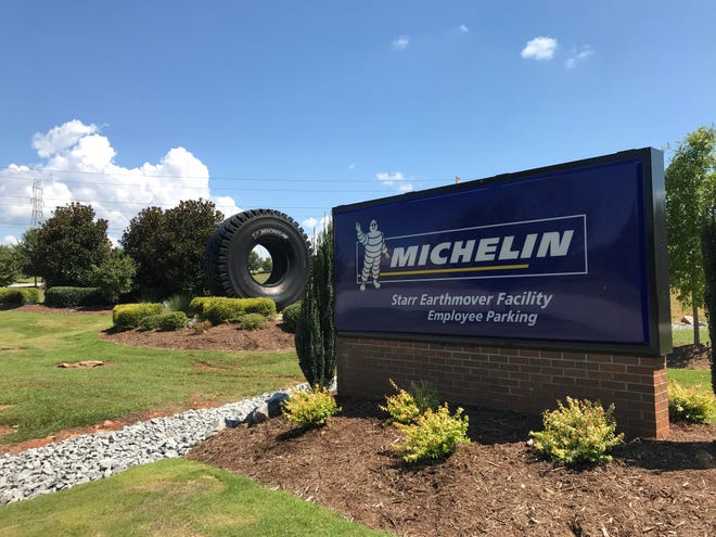 The entrance to Michelin's U.S. 10 plant in Starr has been freshened up with its reopening July 19. Company officials celebrated the occasion Thursday, Aug. 30, 2018.