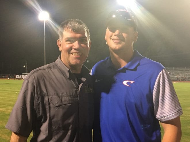 Menard coach Chris Gatlin (left) and his son, C.J., coached against each other in the Cenla Jamboree Aug. 24 at Alexandria Senior High during the Eagles' 10-7 win over Caldwell Parish. Previously, C.J. was a quarterback at ASH, while Chris was the coach.