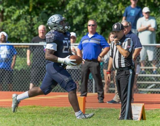 Mater Dei's Malik Ingram scores a first half touchdown. Mater  Dei football vs Pinelands on August 30, 2018 in Middletown, NJ.