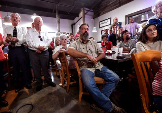 Audience members listen to U.S. Sen. Ted Cruz on Thursday in Abilene.