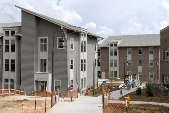 A view of The Woods apartment-style dorms at UNC Asheville with Willow Hall in the front on Thursday, Aug. 30, 2018.