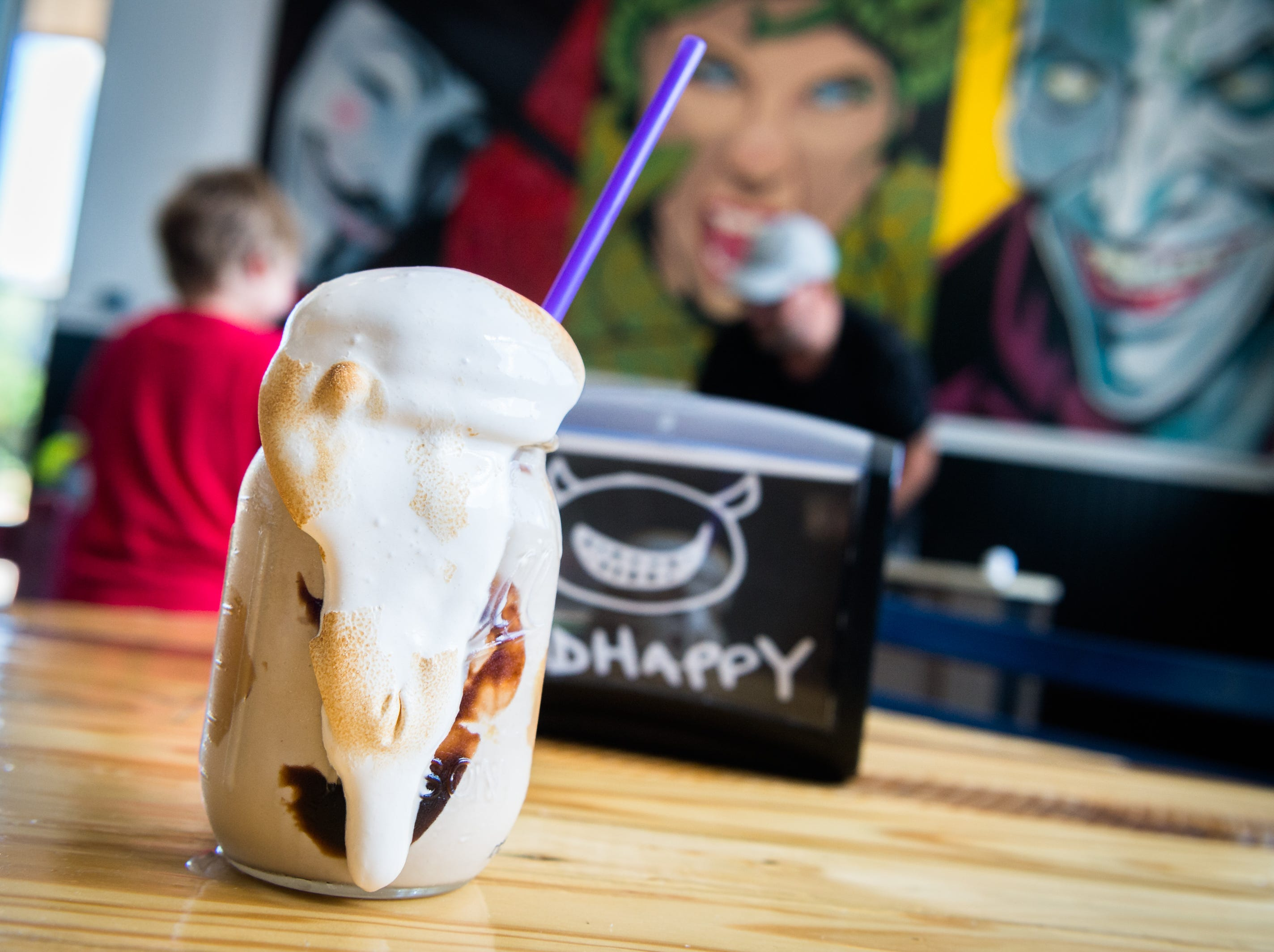 A chocolate, peanut butter and marshmallow shake offered at BadHappy Poutine on Merrimon Avenue in Asheville.