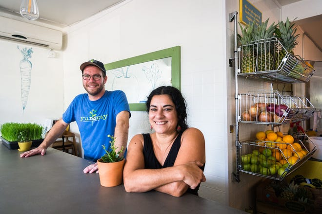 Suzy Salwa Phillips and Nate Kelly, owners of Simple Cafe and Juice Bar on Haywood Road in West Asheville.