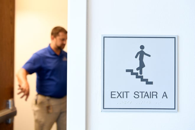 A stairwell in the newly-built Woods apartment-style dorms on the campus of UNC Asheville. The stairwells are a main reason that state and local fire inspectors have now deemed the buildings a safety concern although they do meet building code standards.