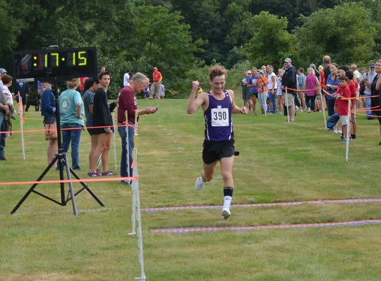 Lakeview's Keegan Aimesbury takes first in the boys race at the annual All-City Cross Country Meet on Wednesday.