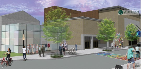 Rendering of the proposed Glass Box Forum Entrance in Binghamton.