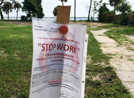 "Melbourne city officials posted a ""stop work"" order Aug. 24 at the Riverview Drive site."