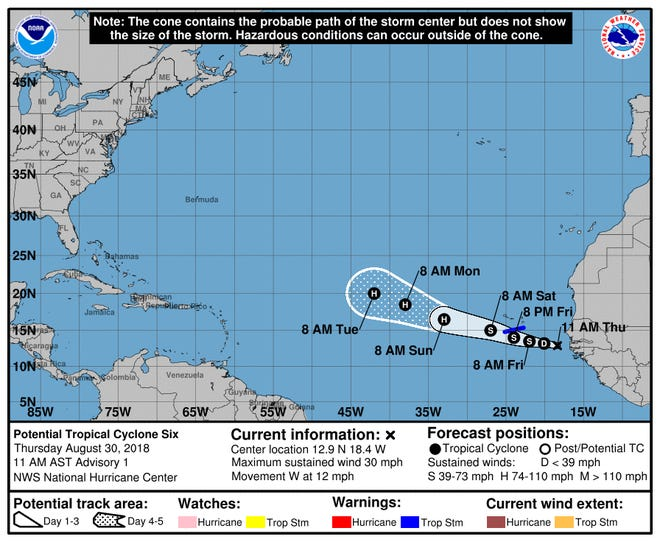 Potential Tropical Cyclone Six formed in the east Atlantic Thursday morning.