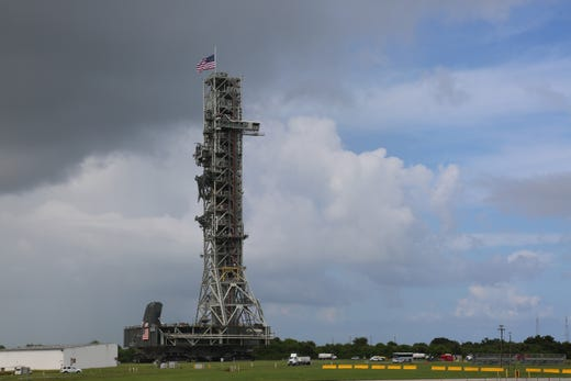 NASA Teams using the historic crawler vehicle are moving the mobile launcher slowly from the Kennedy Space Center's Vehicle Assembly Building to Pad 39B on Thursday, August 30, 2018. The mobile launcher will eventually host the agency's space rocket.