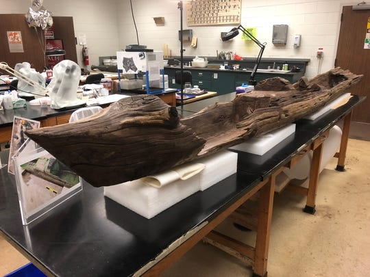 The Irma Canoe being analyzed and preserved in a lab at the Florida Bureau of Archaeological Research in Tallahassee. F