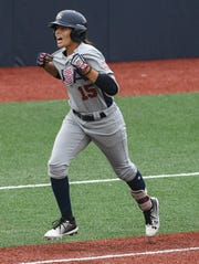 Jade Gortarez of the USA rounds third base after hitting a three-run HR during Wednesday's game against Canada.