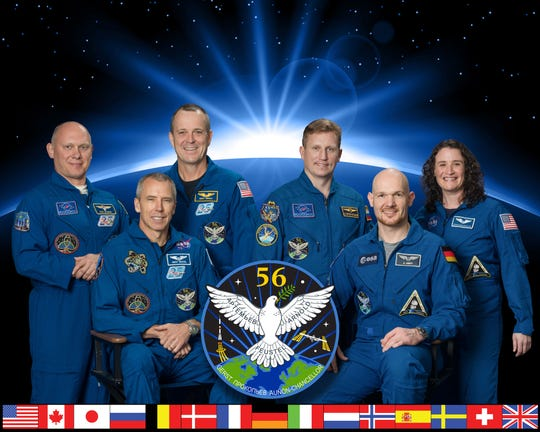 International Space Station Expedition 56 crew members, from left to right: Oleg Artemyev, commander Drew Feustel, Ricky Arnold, Sergey Prokopyev, Alexander Gerst and Serena Auñón-Chancellor.