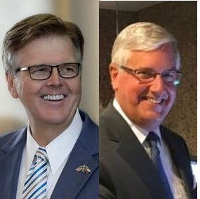 Dan Patrick, left, Mike Collier