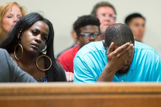 Family members of the victim sit in the gallery as a detention hearing is held for Ah'ree Stanley-Nellom Thursday, Aug. 30, 2018 at the Camden County Hall of Justice in Camden, N.J. Stanley-Nellom, who is accused of killing an 8-month-old in Gloucester Township, will remain detained until trial.