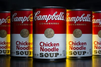 Campbell Soup is going back to the basics - core products in the North American market - in an effort to revive its finances.