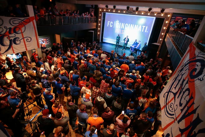 Major League Soccer commissioner Don Garber takes questions from supporters of FC Cincinnati in 2016. The club cleared a major hurdle Monday, putting it one step closer to a new stadium in West End.  Kareem Elgazzar/the enquirer Major League Soccer commissioner Don Garber takes questions from supporters of Futbol Club Cincinnati, Tuesday, Nov. 29, 2016, at the Woodward Theater in Over-the-Rhine.