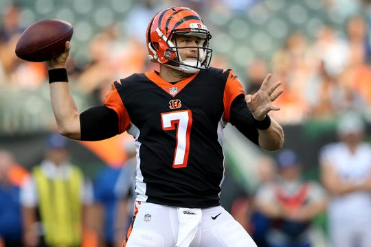 Cincinnati Bengals quarterback Matt Barkley (7) throws in the first quarter during the Week 4 NFL preseason game between the Indianapolis Colts and the Cincinnati Bengals at Paul Brown Stadium in Cincinnati. He later left with a left knee injury.