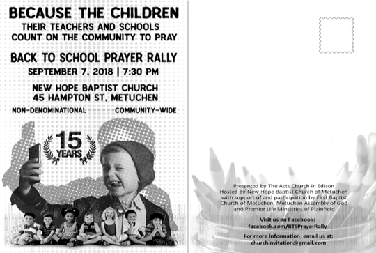 A back to school prayer rally to pray for a safe and productive school year for students and school staffwill be held at 7:30 p.m. Friday at New Hope Baptist Church.