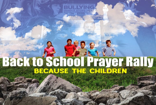 A back to school prayer rally will be held at 7:30 p.m. Sept. 7 at New Hope Baptist Church in Metuchen.