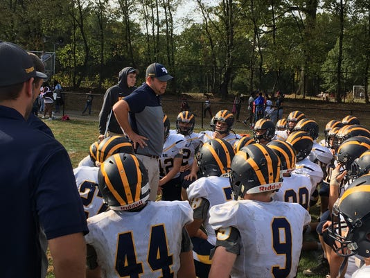 Delaware Valley Coach Michael Haughey Addresses His Team Following Saturdays Loss At Hillside 10 21 17