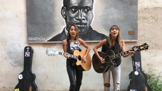 Nalani & Sarina perform in downtown Somerville.