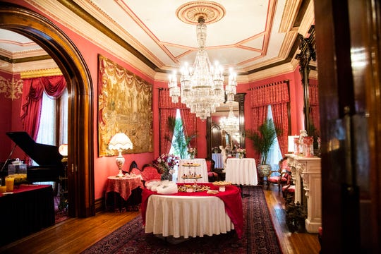The Terrace Hill drawing room is set for a garden party on Tuesday, Aug. 28, 2018, in Des Moines. The party was a fundraiser organized by staff and the Terrace Hill Partnership, which helps pay for the upkeep of the governor's mansion.