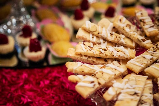 Almond pastries are set out in the Terrace Hill drawing room during a garden party on Tuesday, Aug. 28, 2018, in Des Moines.