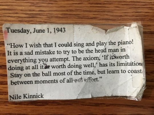 The creased and tattered copy of a Nile Kinnick quote that author Mark Wilson kept with him always while teaching students with challenges.