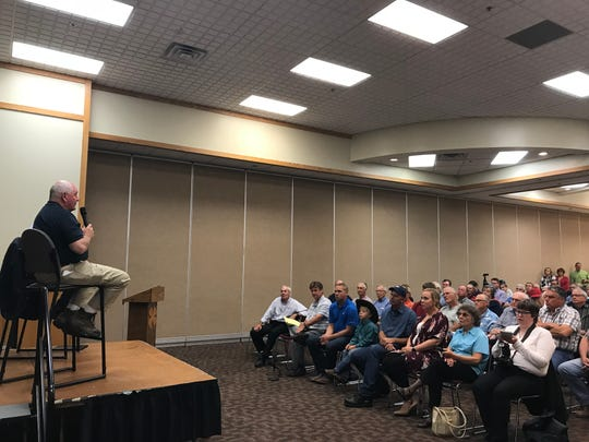 U.S. Department of Agriculture Secretary Sonny Perdue and Iowa U.S. Rep. David Young host a town hall meeting on trade in Atlantic, Ia., on Aug. 30, 2018.