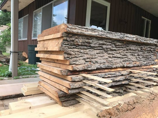 Wood from 275-year-old oak tree at John Fielder's Ferndale home will be used to make table tops.