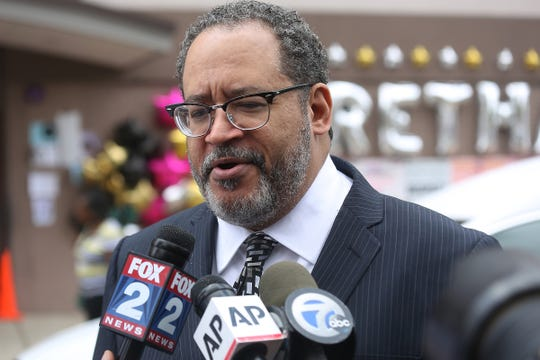 Michael Eric Dyson, professor, analyst and author attends the public viewing for Aretha Franklin at New Bethel Baptist church, her family church,  in Detroit on Thursday, Aug. 30, 2018.