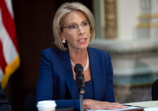 Secretary of Education Betsy DeVos speaks during a meeting of the Federal School Security Commission, focusing on the best practices for the safety of school building, the training of active shooter in schools and the experience of practitioners with the assessment of the school-based threat in Washington, DC , on August 16, 2018.