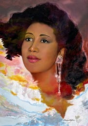 Artist and designer Dominic Pangborn painted Aretha Franklin from an image he found online shortly after her death.