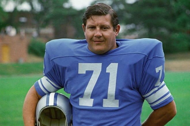 Alex Karras, here in 1971, will join Herman Moore and Roger Brown in the Pride of the Lions display, which honors the franchise all-time great players.