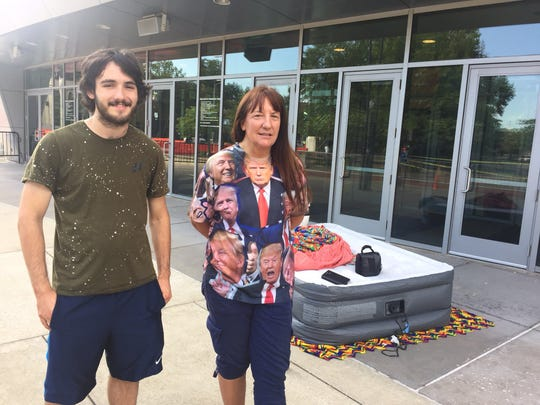 Brendon Gutenschwager and Saundra Kaczinski camped out in front of the Ford Center overnight Wednesday. They met at a pre-inauguration rally in 2017 and have been to 21 rallies each.