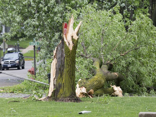 A small tornado ripped through about a 4 block area in Brandon Friday May 27, 2016. No injuries were reported.