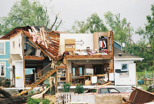 Hundreds of homes were damaged in the village of oakfield, Fond du Lac County,  by an F5 tornado on June 12, 1996.