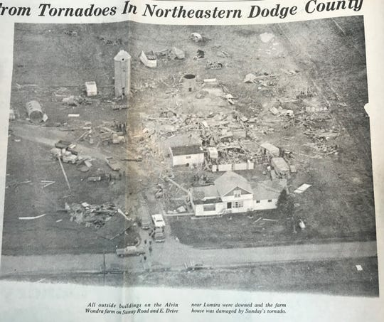 The Alvin Wondra farm near Lomira was downed during a Sunday afternoon tornado in April 1974. Wondra was hospitalized after suffering injuries.