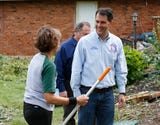 Wisconsin Governor Scott Walker stopped in the Fond du Lac area on his tour of visiting areas in the state affected by severe weather