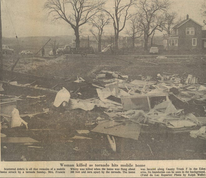 Mrs. Francis Whitty was killed when her mobile home was destroyed by a tornado April 24, 1974 along County Highway F in Eden.