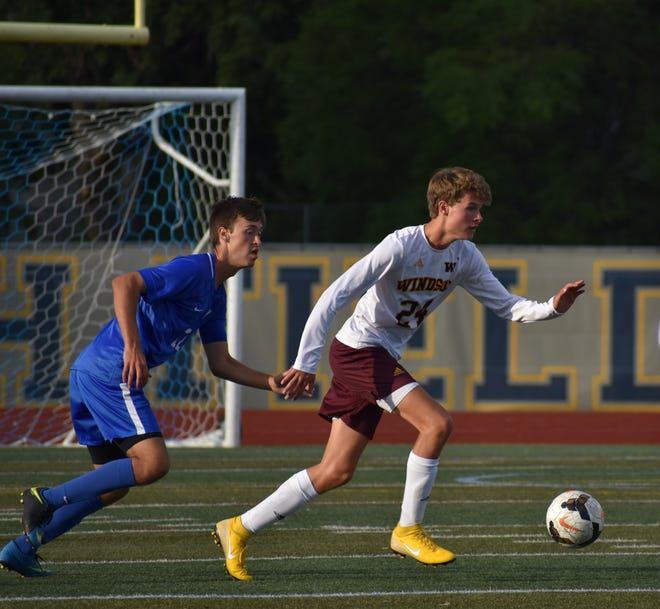 Windsor High School boys soccer player Cole Davidson, shown pushing the ball upfield during an Aug. 29 game against Poudre, and his teammates will host Roosevelt in a 6 p.m. game Wednesday.