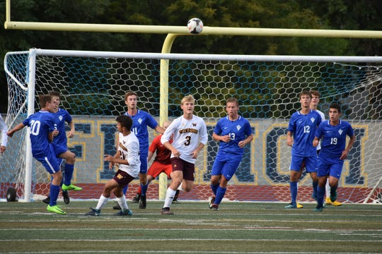 The Poudre and Windsor high schools boys soccer teams, shown playing each other in a 2018 game at French Field, will meet again at 6 p.m. Wednesday at Windsor High School.