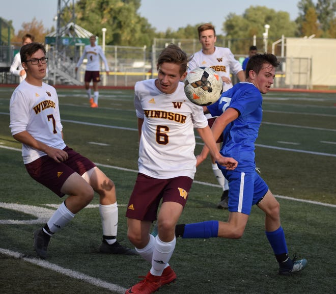 Windsor High School's Ben Peterson, shown blocking the ball during a 2-1 win over Poudre on Aug. 29, and his teammates host Fossil Ridge in a 6 p.m. match Tuesday.