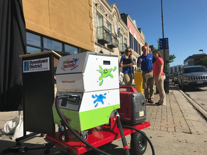 Downtown Green Bay Inc. puchased a GumBuster machine to vaporize the ugly, black gum spots on downtown sidewalks.